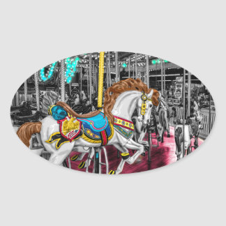 Colorful Carousel Horse at Carnival Oval Sticker