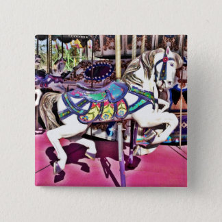 Colorful Carousel Horse at Carnival Photo Gifts Button
