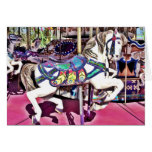 Colorful Carousel Horse at Carnival Photo Gifts Card