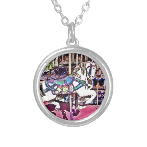 Colorful Carousel Horse at Carnival Photo Gifts Custom Necklace