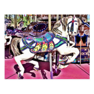 Colorful Carousel Horse at Carnival Photo Gifts Postcard