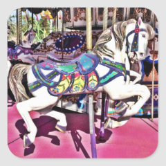 Colorful Carousel Horse at Carnival Photo Gifts Square Sticker