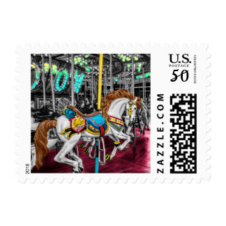 Colorful Carousel Horse at Carnival Postage