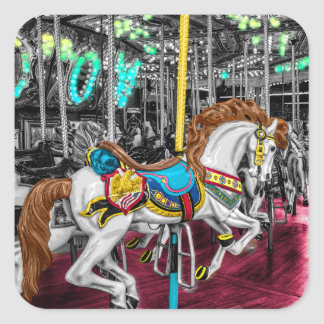 Colorful Carousel Horse at Carnival Square Sticker