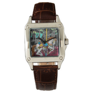 Colorful Carousel Horse at Carnival Wrist Watch
