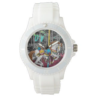 Colorful Carousel Horse at Carnival Wristwatch