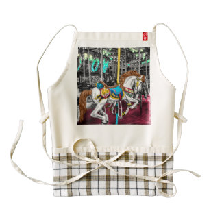 Colorful Carousel Horse at Carnival Zazzle HEART Apron