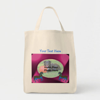 Colorful Carousel Horses Design Photo Tote Bag