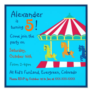 Colorful carousel kids birthday party invitations