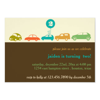 Colorful Cars Birthday Party Card