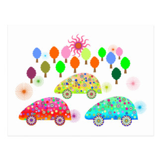Colorful Cars C1 Postcard