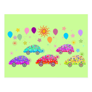 Colorful Cars C7 Postcard