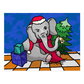 Colorful Cartoon Bell Ringing Christmas Elephant Postcard