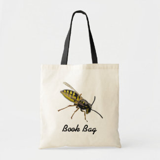 Colorful cartoon black and yellow bee hornet wasp tote bag