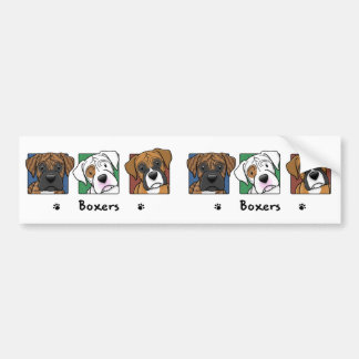 Colorful Cartoon Boxers Bumper Stickers