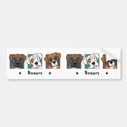 Colorful Cartoon Boxers Bumper Sticker