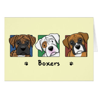 Colorful Cartoon Boxers Greeting Card