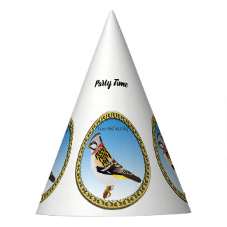 Colorful cartoon brown and yellow sparrow party hat