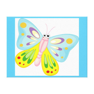 COLORFUL CARTOON BUTTERFLY CANVAS PRINT