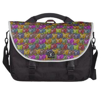 Colorful cartoon cat pattern. laptop messenger bag