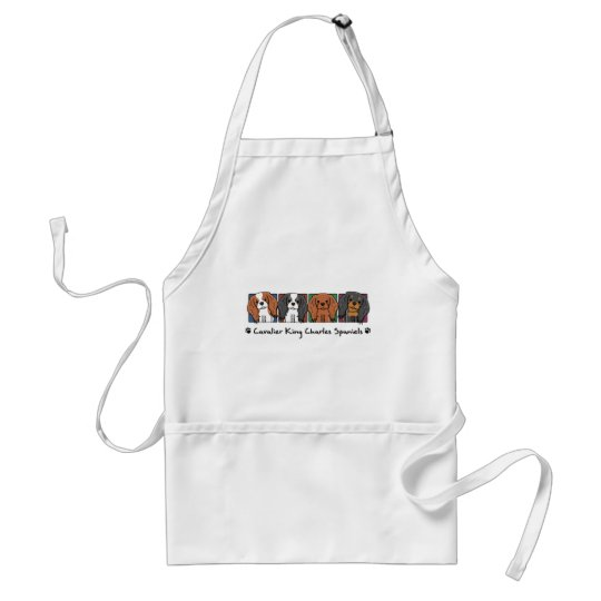 Colorful Cartoon Cavalier King Charles Spaniels Adult Apron