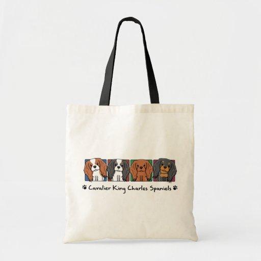 Colorful Cartoon Cavalier King Charles Spaniels Budget Tote Bag