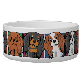 Colorful Cartoon Cavalier King Charles Spaniels Bowl