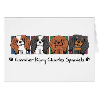 Colorful Cartoon Cavalier King Charles Spaniels Greeting Card