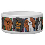 Colorful Cartoon Cavalier King Charles Spaniels Dog Food Bowls