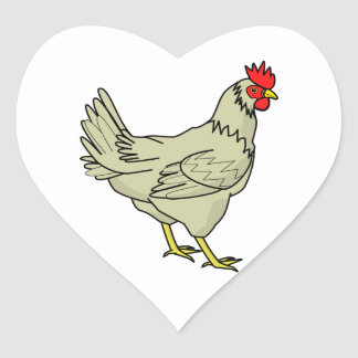 Colorful Cartoon Chicken (Rooster) Heart Sticker