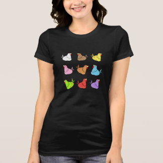 Colorful Cartoon Chickens - Ladies T-shirt