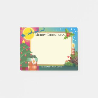 Colorful Cartoon Christmas Post It Notes