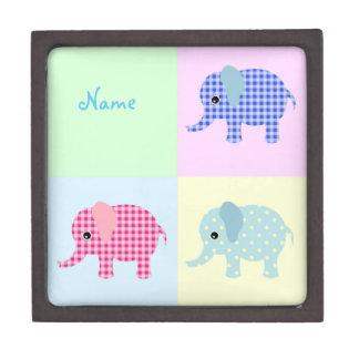 Colorful Cartoon Elephants Jewelry Box