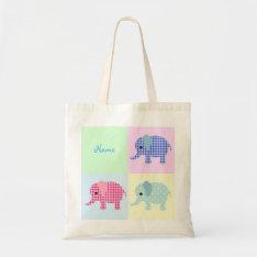 Colorful Cartoon Elephants Jumbo Tote Bag at Zazzle