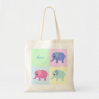 Colorful Cartoon Elephants Jumbo Tote Bag