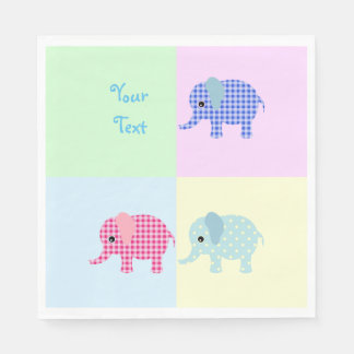 Colorful Cartoon Elephants Paper Napkin