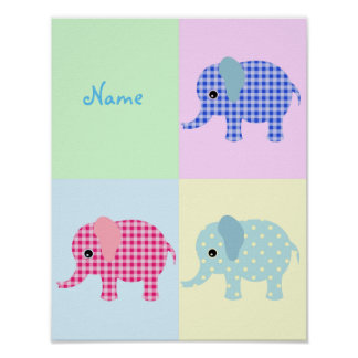 Colorful Cartoon Elephants Poster