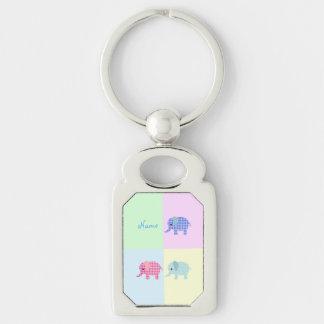 Colorful Cartoon Elephants Square Keychain