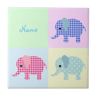 Colorful Cartoon Elephants Tile