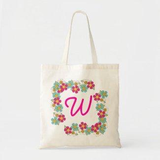 Colorful Cartoon Flowers Initial Bag