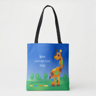 Colorful Cartoon Giraffe and Butterfly Tote Bag