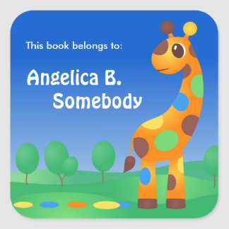 Colorful Cartoon Giraffe Bookplate Square Sticker