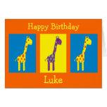 Colorful Cartoon Giraffes Customizable Birthday Card