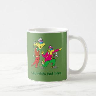Colorful Cartoon Golfer and Caddie Coffee Mug