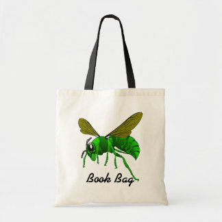 Colorful cartoon green and lime hornet wasp bee tote bag