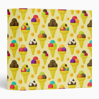 Colorful Cartoon Ice Cream Cones Vinyl Binder
