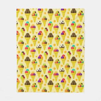 Colorful Cartoon Ice Cream Cones Fleece Blanket