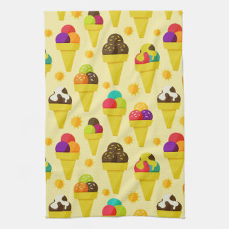 Colorful Cartoon Ice Cream Cones Hand Towel