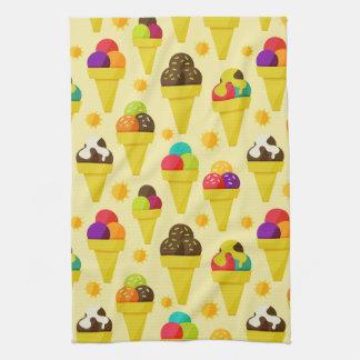 Colorful Cartoon Ice Cream Cones Hand Towel