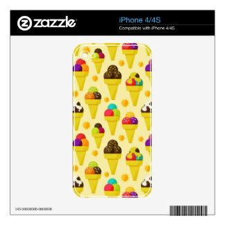 Colorful Cartoon Ice Cream Cones iPhone 4S Decal